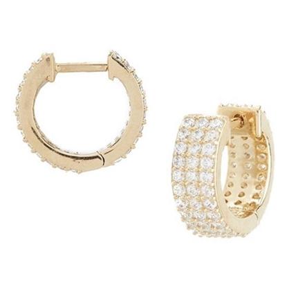 Picture of Nadri Aura Gold-Tone Triple CZ Huggie Earrings