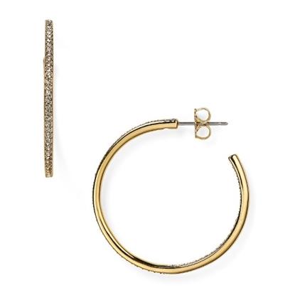 Picture of Nadri Pave Medium Hoop Gold-Tone Earrings