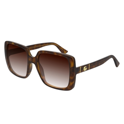 Picture of Gucci Square Sunglasses with Interlocking Logo - Havana/Grey