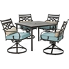 Picture of Hanover Montclair 5-Piece Patio Dining Set in Ocean Blue with 4 Swivel Rockers and a 40-inch Square Table