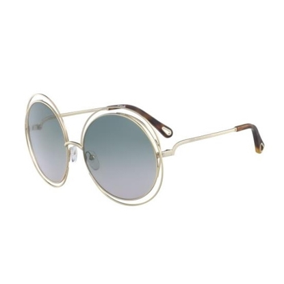 Picture of Chloe Carlina Sunglasses - Gold with Havana/Green Rose Lens