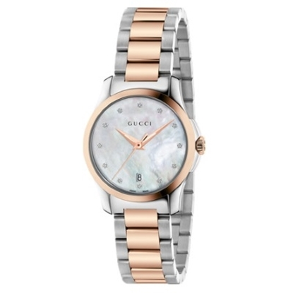 Picture of Gucci G-Timeless Two-Tone Watch with MOP Dial & Diamonds