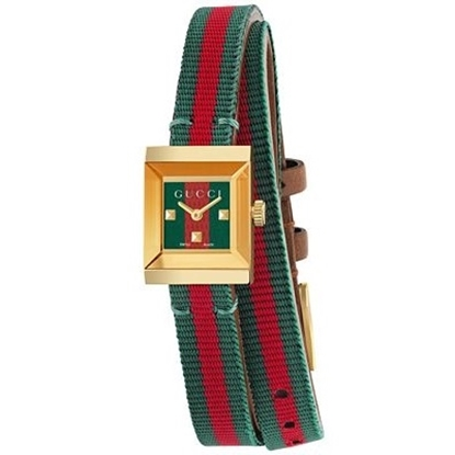 Picture of Gucci Ladies' G Frame Watch with Green/Red Nylon Strap