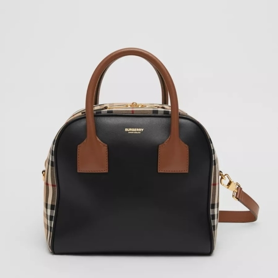 Picture of Burberry Small Leather & Vintage Check Cube Bag