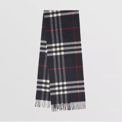 Picture of Burberry Giant Check Cashmere Scarf - Navy