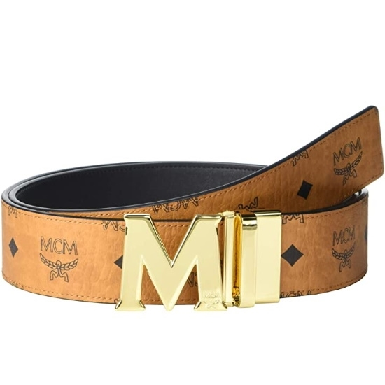 Picture of MCM Claus Reversible Belt - Cognac with Gold Buckle
