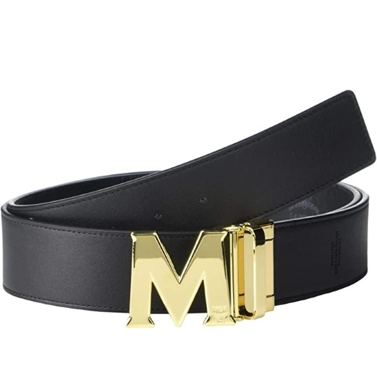 Picture of MCM Claus Reversible Belt - Black with Gold Buckle