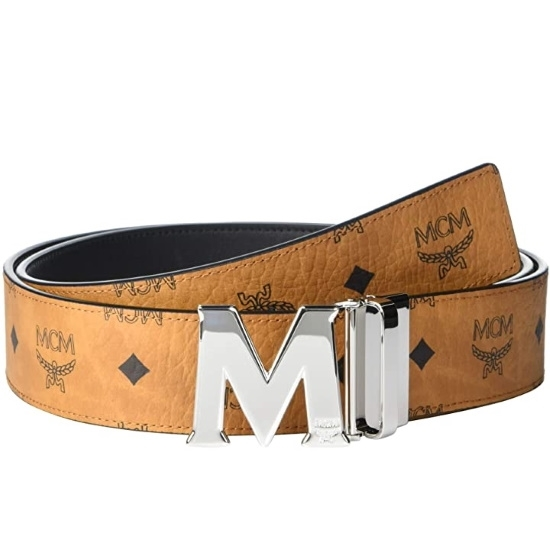 Picture of MCM Claus Reversible Belt - Cognac with Silver Buckle
