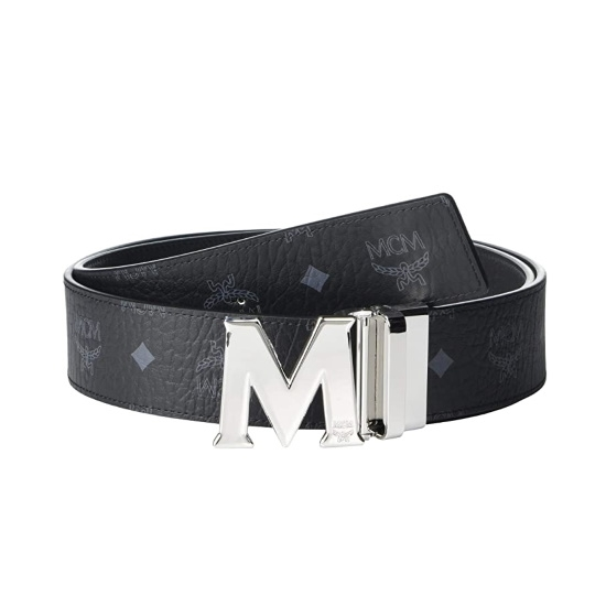 Picture of MCM Claus Reversible Belt - Black with Silver Buckle