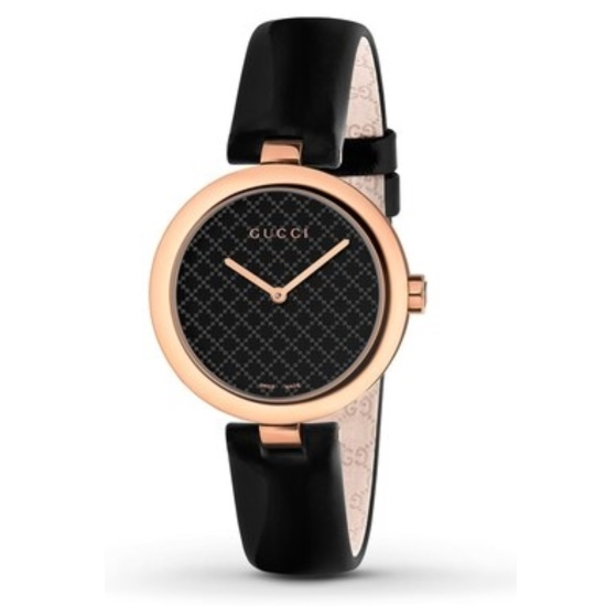 Picture of Gucci Diamantissima Medium Watch - Black Calf Strap/Black Dial