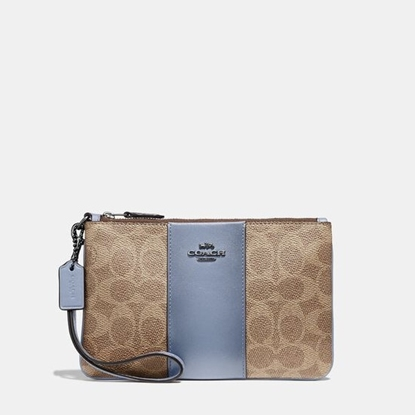 Picture of Coach Colorblock Signature Small Wristlet - Tan Bluebell