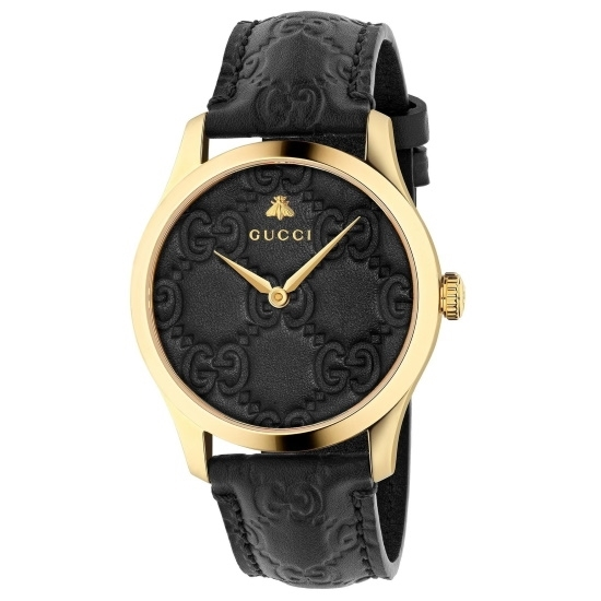 Picture of Gucci G-Timeless Watch with Black Leather Strap