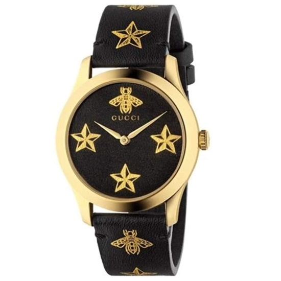 Picture of Gucci G-Timeless Black Leather Strap Watch with Stars & Bees