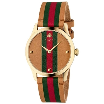 Picture of Gucci G-Timeless Watch Brown Leather Strap & Red/Green Stripe