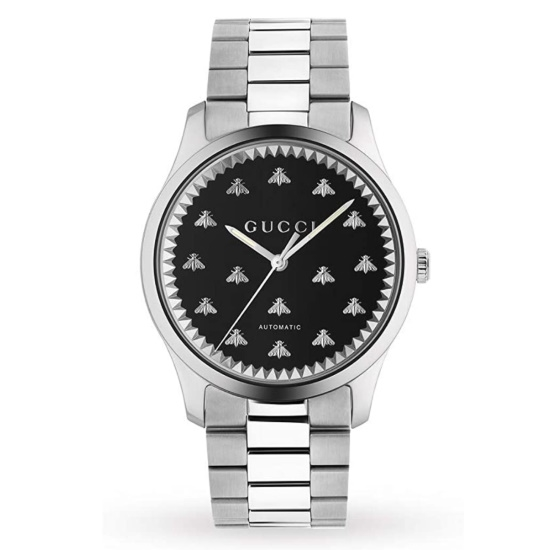 Picture of Gucci G-Timeless Automatic Steel Watch with Black Dial & Bees