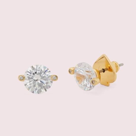Picture of Kate Spade Duo Prong Stud Earrings - Clear/Gold