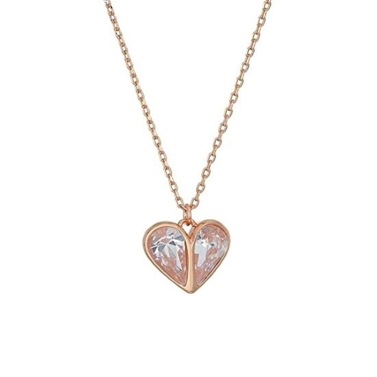 Picture of Kate Spade Rock Solid Stone Heart Mini Pendant - Clear/Rose