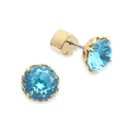 Picture of Kate Spade That Sparkle Round Earrings - Aquamarine