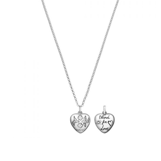 Picture of Gucci Blind for Love Silver Heart Pendant Necklace
