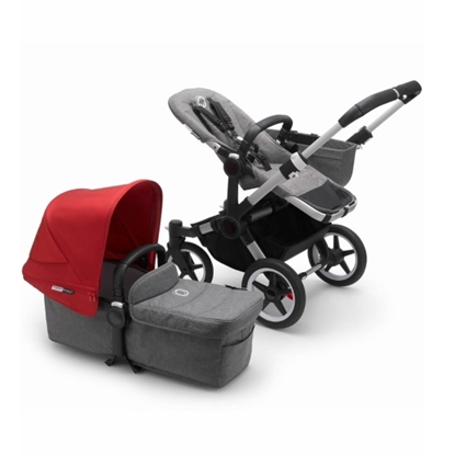 Picture of Bugaboo Donkey3 Mono Stroller - Aluminum/Grey/Red