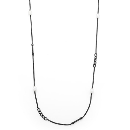 Picture of ALOR Chain Reaction Black Cable Necklace with Pearls