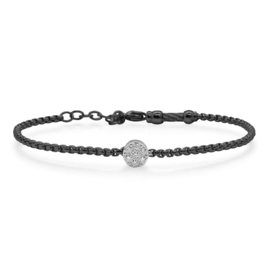 Picture of ALOR Black Chain Bracelet with 14kt White Gold & Diamonds