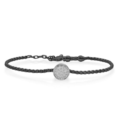 Picture of ALOR Black Chain Bracelet with White Gold & 0.10tcw Diamonds