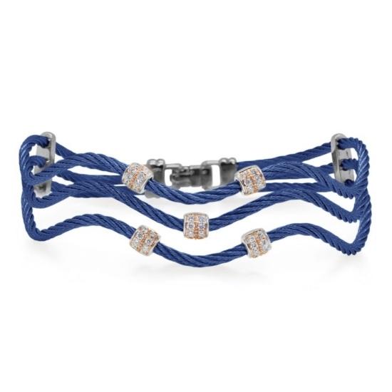 Picture of ALOR Blueberry Wave Bracelet with 18kt Rose Gold & Diamonds