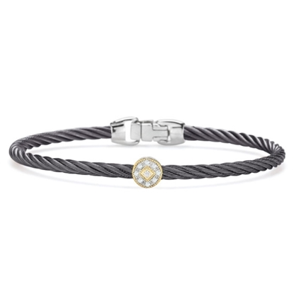 Picture of ALOR Grey Cable Bracelet w/ Diamonds & 18kt White/Yellow Gold