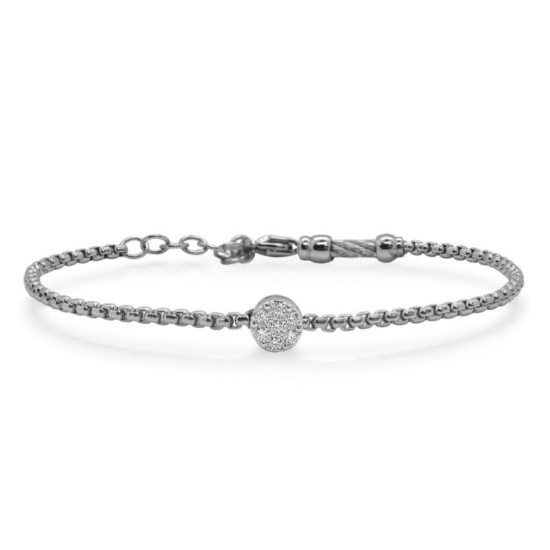 Picture of ALOR Grey Steel Chain Bracelet with 14kt White Gold & Diamonds