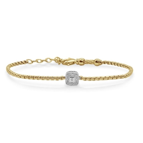 Picture of ALOR Yellow Steel Chain Bracelet w/ 14kt White Gold & Diamonds