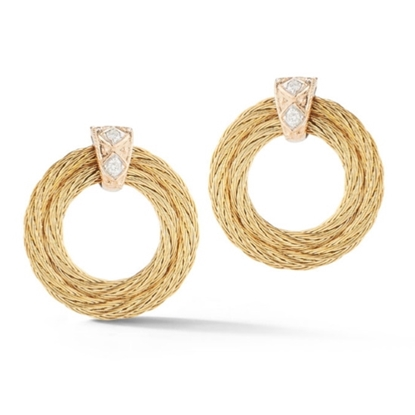 Picture of ALOR Yellow Cable Earrings with 18kt White Gold & Diamonds
