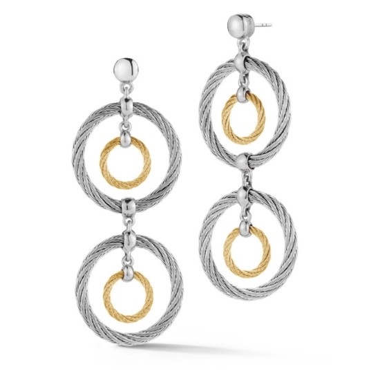 Picture of ALOR Yellow/Grey Cable Double Drop Earrings w/ 18kt White Gold