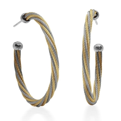 Picture of ALOR Yellow & Grey Cable Hoop Earrings with 18kt White Gold