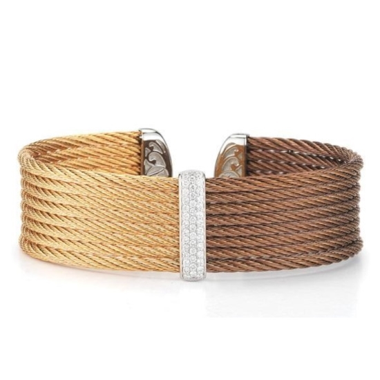 Picture of ALOR Bronze & Rose Cable Cuff with 18kt White Gold & Diamonds