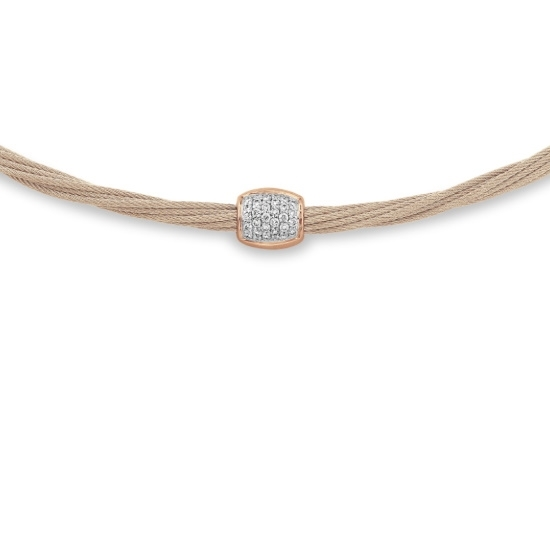 Picture of ALOR Carnation Cable Helix Necklace- 18kt Rose Gold & Diamonds