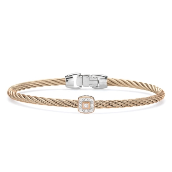 Picture of ALOR Carnation Cable Bracelet w/ White & Rose Gold & Diamonds