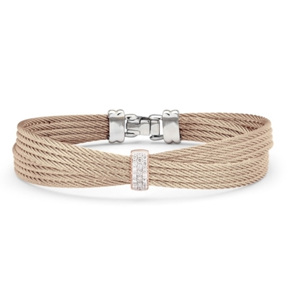 Picture of ALOR Carnation Cable Bow Bracelet w/ 18kt Rose Gold & Diamonds