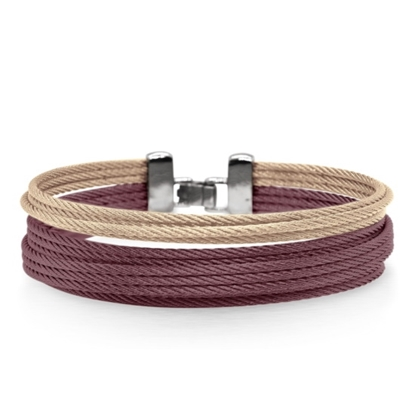 Picture of ALOR Carnation & Burgundy Cable Double Stack Bracelet