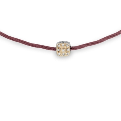 Picture of ALOR Burgundy Cable Necklace w/ 18kt Yellow Gold & Diamonds
