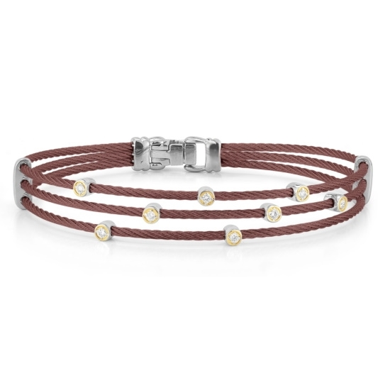 Picture of ALOR Burgundy Cable Bracelet w/ 18kt Yellow Gold & Diamonds