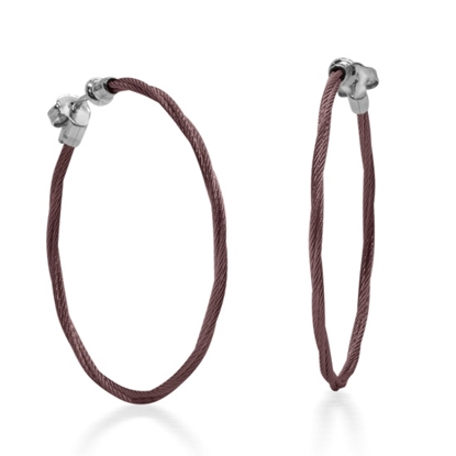 Picture of ALOR Burgundy Cable 37mm Earrings with 18kt White Gold