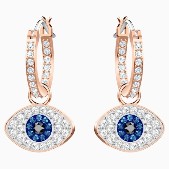 Picture of Swarovski Duo Evil Eye Hoop Pierced Earrings - Rose Gold