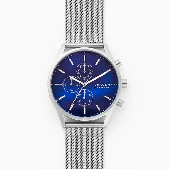 Picture of Skagen Holst Chrono Silver-Tone Steel-Mesh Watch