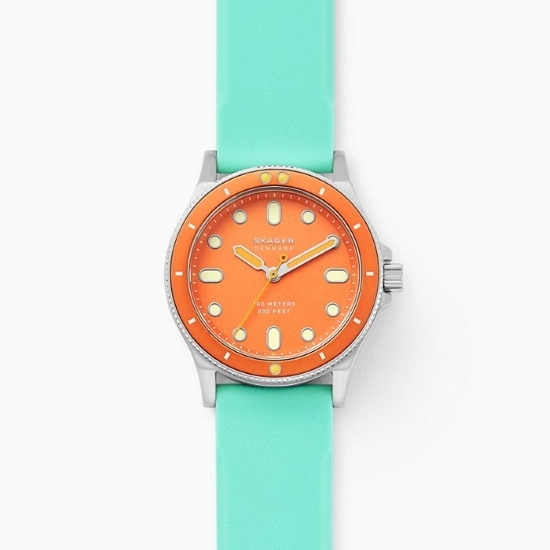 Picture of Skagen Fisk Three-Hand Green Silicone Watch