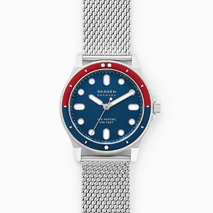 Picture of Skagen Fisk 3-Hand Silver-Tone Steel-Mesh Watch