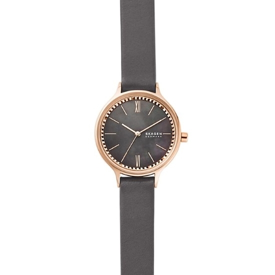 Picture of Skagen Anita Three-Hand Grey Leather Watch