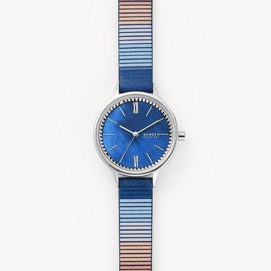 Picture of Skagen Anita Three-Hand Blue Leather Watch