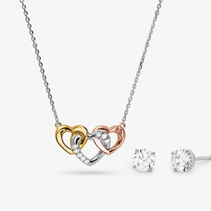 Picture of Michael Kors Tri-Tone-Plated Sterling Silver Heart Trio Set