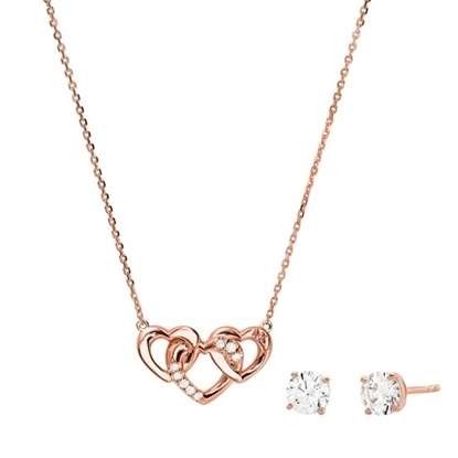 Picture of Michael Kors 14K Rose Gold Sterling Silver Heart Trio Set